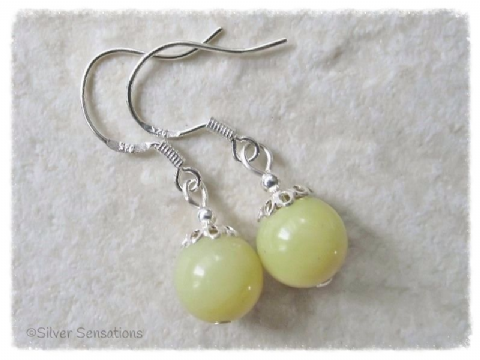 Yellow Olive Jade Round Sterling Silver Drop Earrings